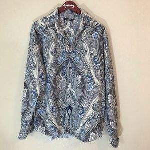 Other - Blue paisley printed long sleeved cotton shirt euc